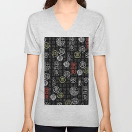 chinese characters pattern Unisex V-Neck