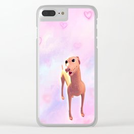 Greyhound with hearts pattern Clear iPhone Case