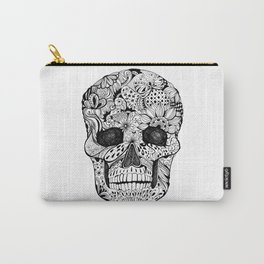 Human skull with hand- drawn flowers, butterflies, floral and geometrical patterns Carry-All Pouch