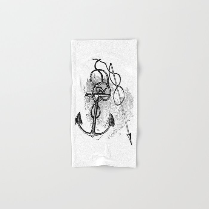 Anchor and harpoon. Hand & Bath Towel