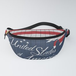 Stars and Stripes - US map on reclaimed wood Fanny Pack