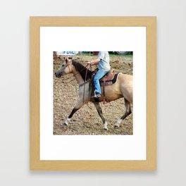 Barrel Race Buckskin Horse Framed Art Print
