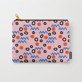 Bro - abstract retro pattern squiggle dot lines grid pink red children 1980s 80s throwback pop art Carry-All Pouch