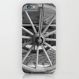 Old wooden cart wheel iPhone Case