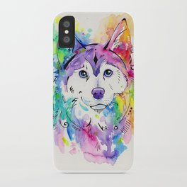 Happy - Siberian Husky Watercolor Art iPhone Case