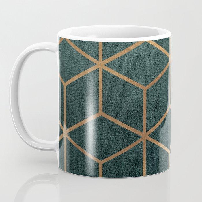 Dark Teal and Gold - Geometric Textured Gradient Cube Design Coffee Mug