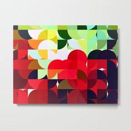 Mixed Color Poinsettias 2 Abstract Circles 1 Metal Print