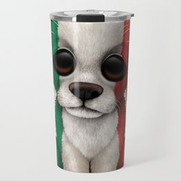 Cute Puppy Dog with flag of Italy Travel Mug