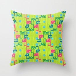 Retro Pop Pattern Grass Throw Pillow