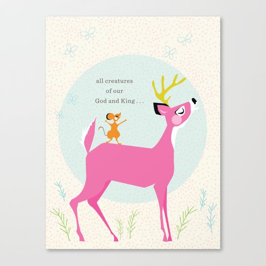 Deer & Mouse Singing Canvas Print