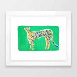 Leopard - Green Framed Art Print
