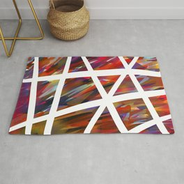 Colorful Chaos - White Stripes Rug