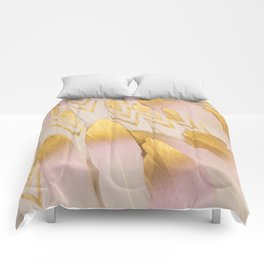 Gold Pink Arrow Feathers Comforters