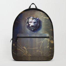 Lion head Black Marble Backpack