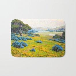 A Spring Morning, Poppies and California Bush Lupine by John Marshall Gamble Bath Mat