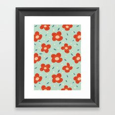 Simple Pretty Orange Flowers Pattern Framed Art Print