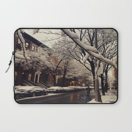 Photo of the beautiful Brooklyn Heights covered in icy snow Laptop Sleeve