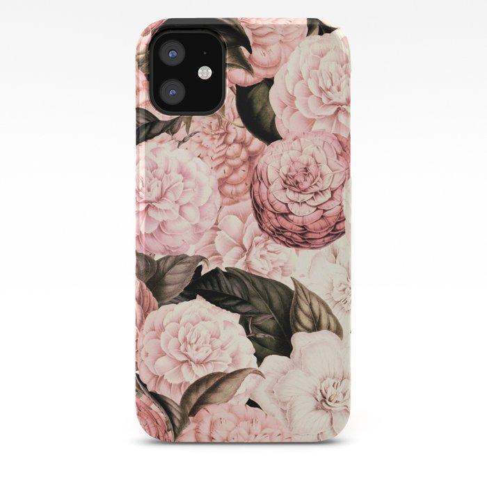 Pink watercolor vintage flowers pattern iphone 11 case