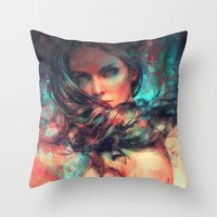 alicexz Throw Pillows featuring Islands by Alice X. Zhang