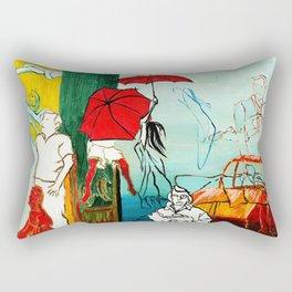 Composition Painting - Umbrella girl with woman Rectangular Pillow