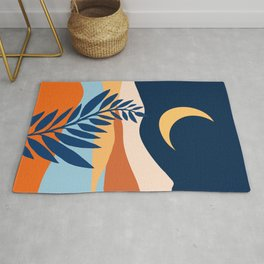 Moon + Night Bloomer / Mountain Landscape Rug