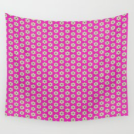 Hot Pink Plaid Mint Green Flower Wall Tapestry