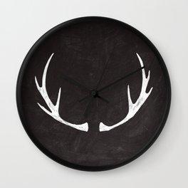 Chalkboard Art - Antlers Wall Clock