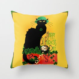 St Patrick's Day - Le Chat Noir Throw Pillow