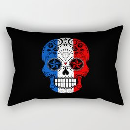 Sugar Skull with Roses and Flag of France Rectangular Pillow
