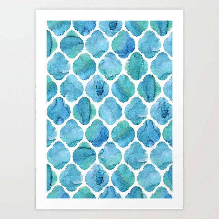 Watercolour Blue Moroccan Tile Print Art