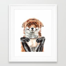 """"""" Morning fox """" Red fox with her morning coffee Framed Art Print"""