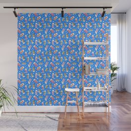 Christmas Coffee Cups in Ice Blue Wall Mural