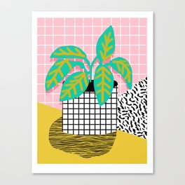 Get Real - potted plant throwback retro neon 1980s style art print minimal abstract grid lines shape Canvas Print