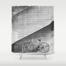 Bike and lines Shower Curtain