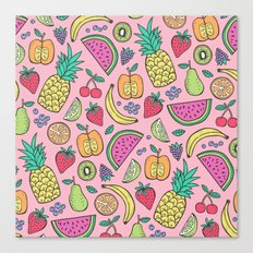 fruit on pink Canvas Print