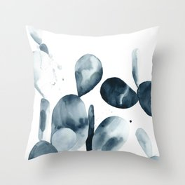 Indigo Paddle Cactus Throw Pillow