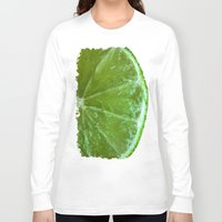 lime green Long Sleeve T-shirts featuring Lime Green and Fresh by BluedarkArt
