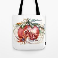 pomegranate Tote Bags featuring Pomegranate by Irina Vinnik