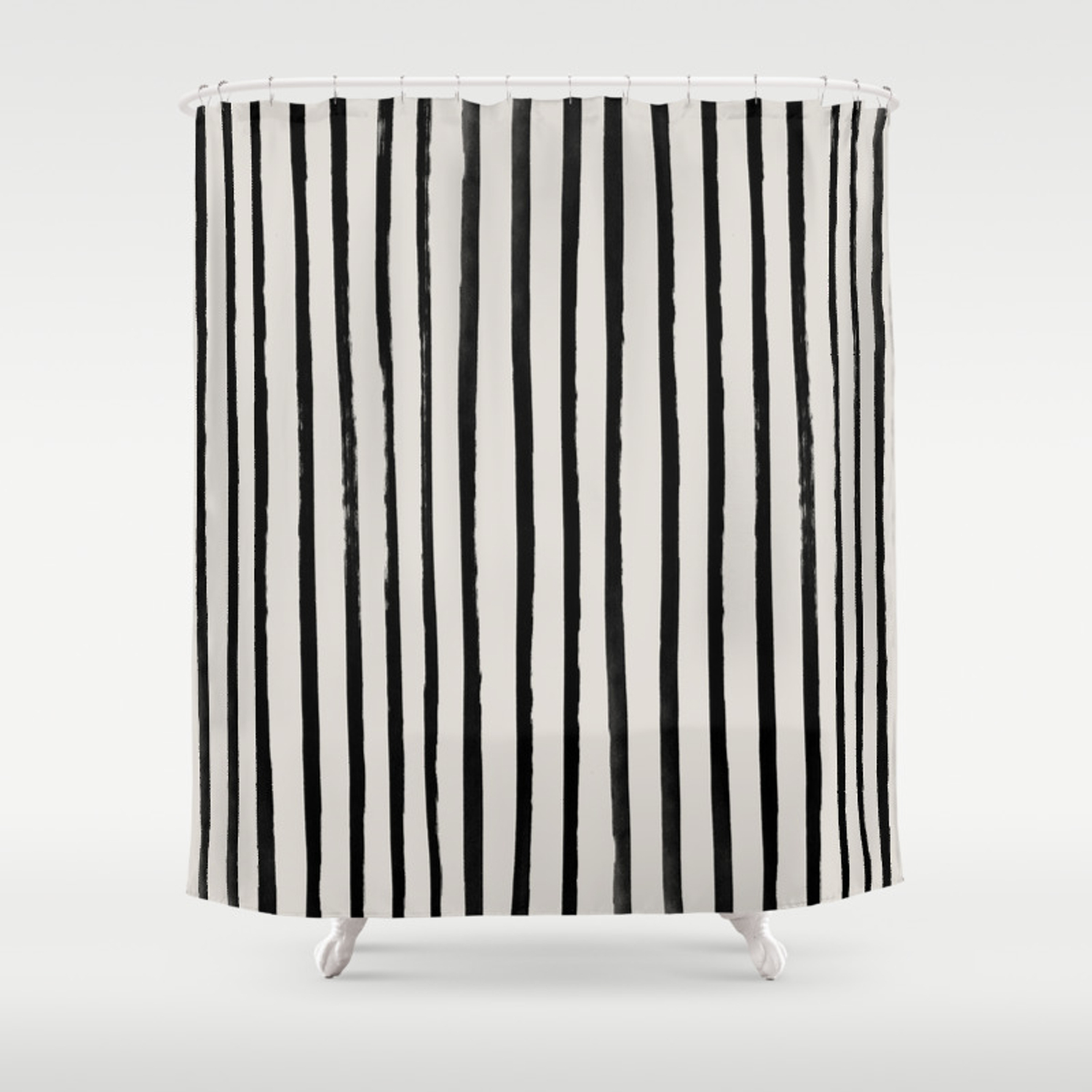 Vertical Black And White Watercolor Stripes Shower Curtain