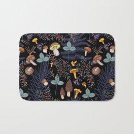 dark wild forest mushrooms Bath Mat