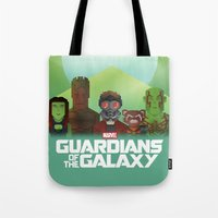 guardians of the galaxy Tote Bags featuring Guardians of the Galaxy by Casa del Kables