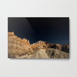 Into the Sea - Night Sky Over the South Dakota Badlands Metal Print