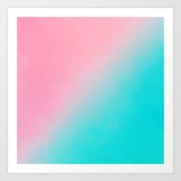 Aurora pink aqua teal artistic ombre watercolor Art Print