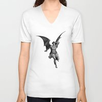 satan V-neck T-shirts featuring Satan by TheMessianicManic