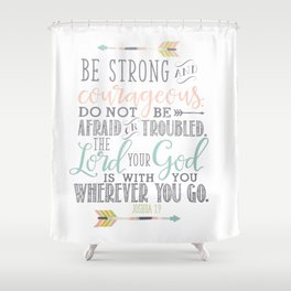 Joshua 1:9 Christian Bible Verse Typography Design Shower Curtain