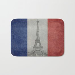 Flag of France with Eiffel Tower Vintage style Bath Mat