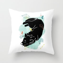 Dreaming wolf illustration Throw Pillow
