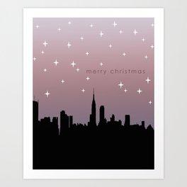 NYC Starry Night Christmas Art Print