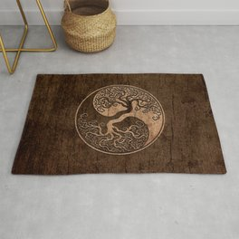 Rough Wood Grain Effect Tree of Life Yin Yang Rug
