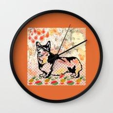 Corgi pop art Wall Clock